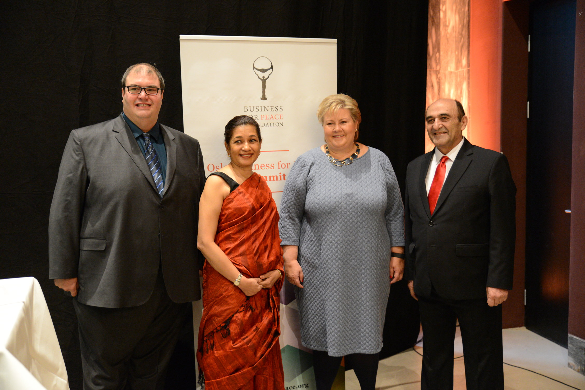 From left to right: Murad Al-Katib, Durreen Shahnaz, Erna Solberg and Harley Seyedin