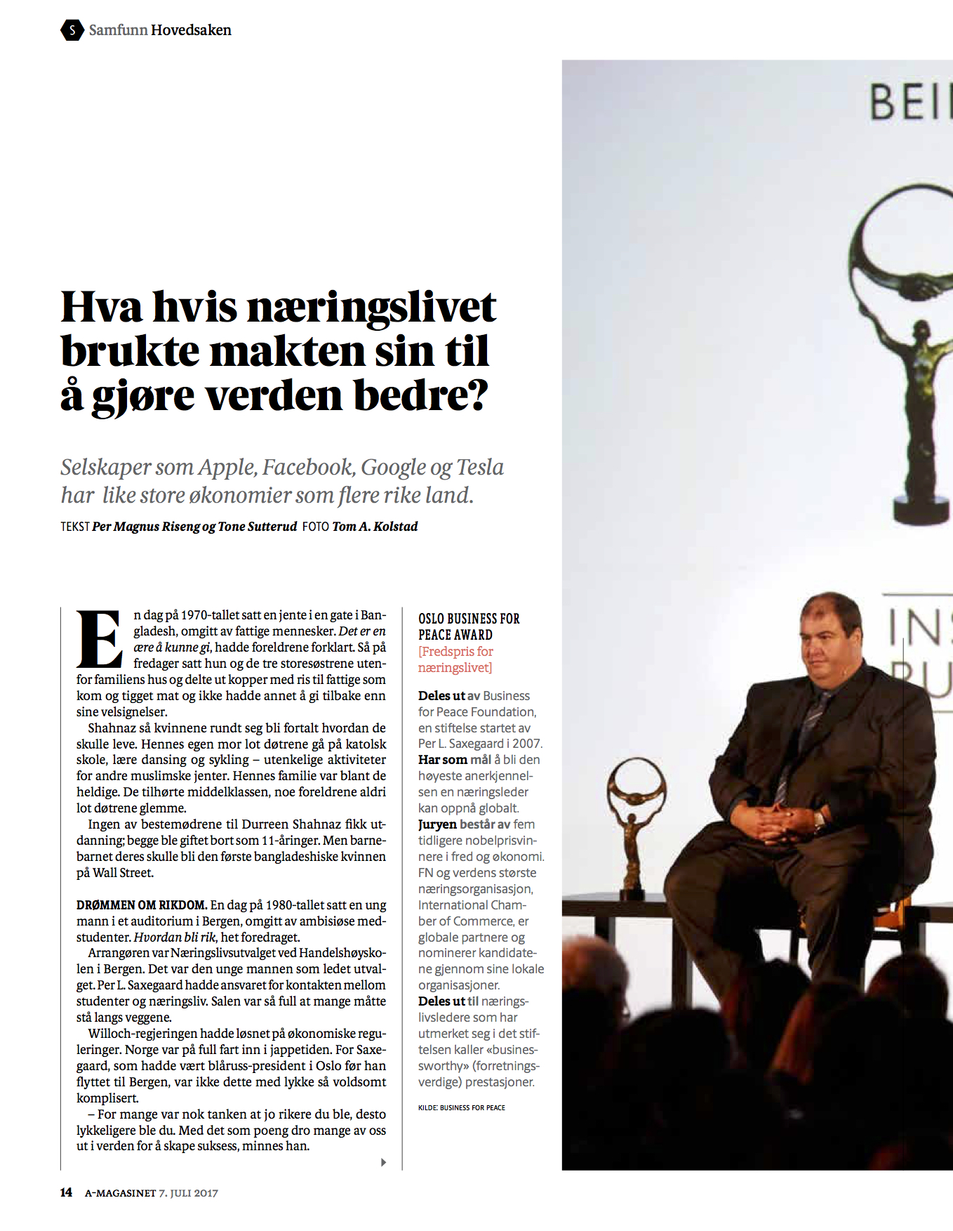 BusinessforPeace_Aftenposten_A-magasinet Page 3