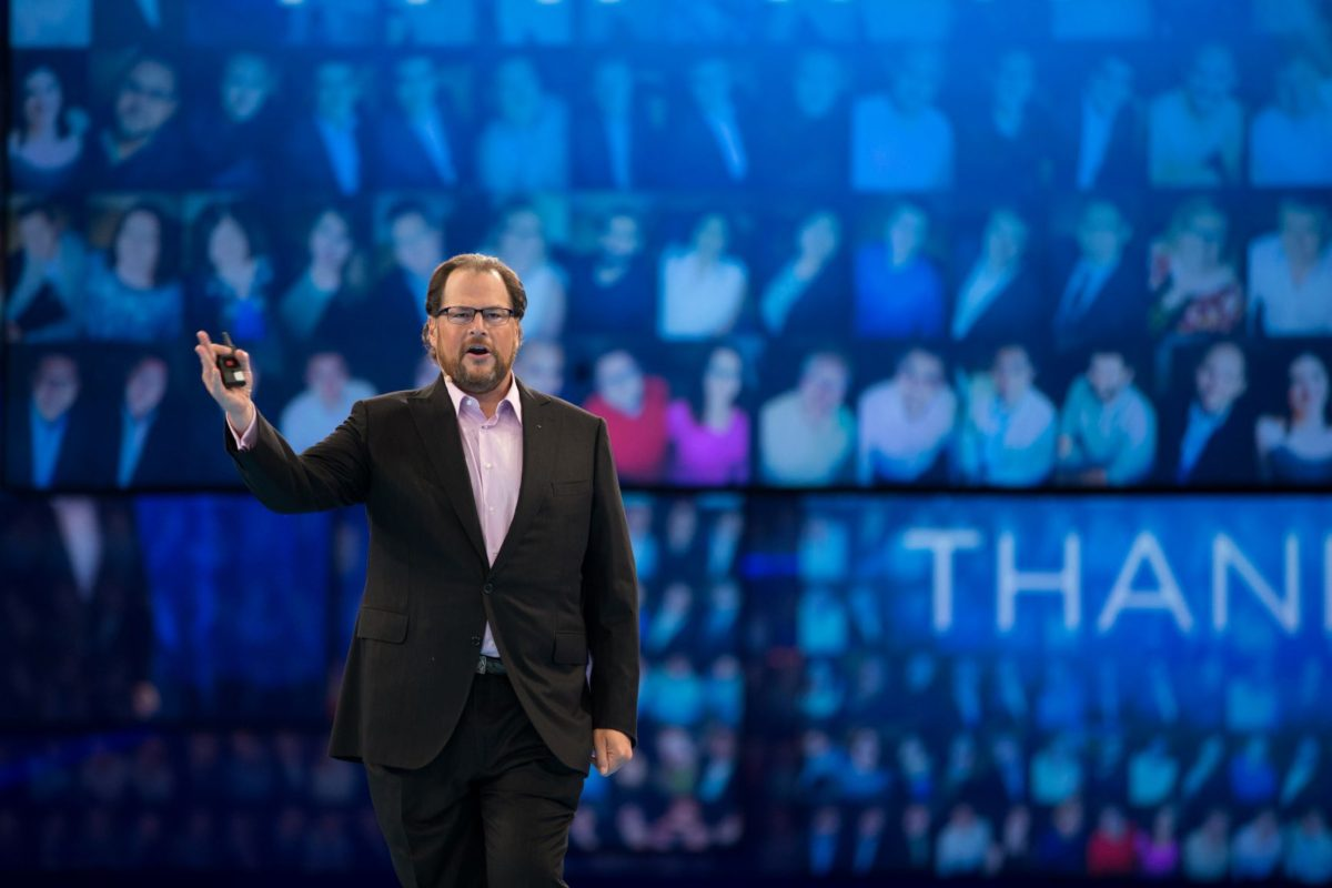 Marc Benioff giving a speech